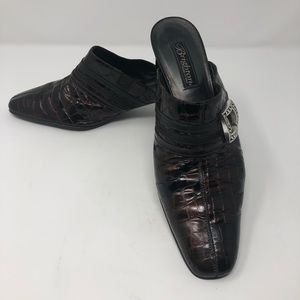 Brighton Croc Design Slip on Shoes Slide on Mules